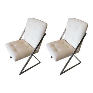 Mid-Century Modern Chrome & White Duck Chairs - A Pair
