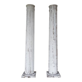 Vintage Architectural Salvage Greek Revival Pillar Columns - A Pair For Sale