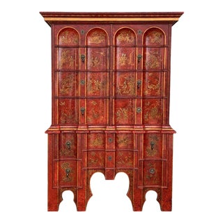 George I Chippendale Gilt Heightened Red Japanned Cabinet, 19th Century