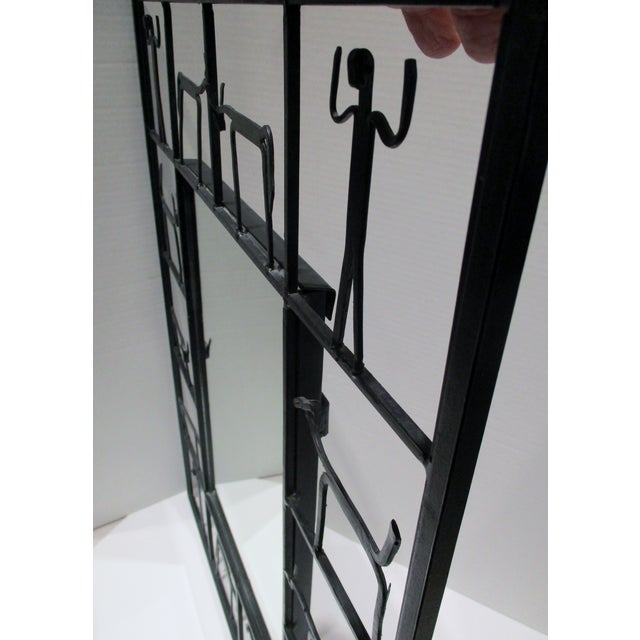 Metal Pair Mirrors 1950's Frederick Weinberg Mid-Century Modern Giacometti Style Wrought Iron For Sale - Image 7 of 9