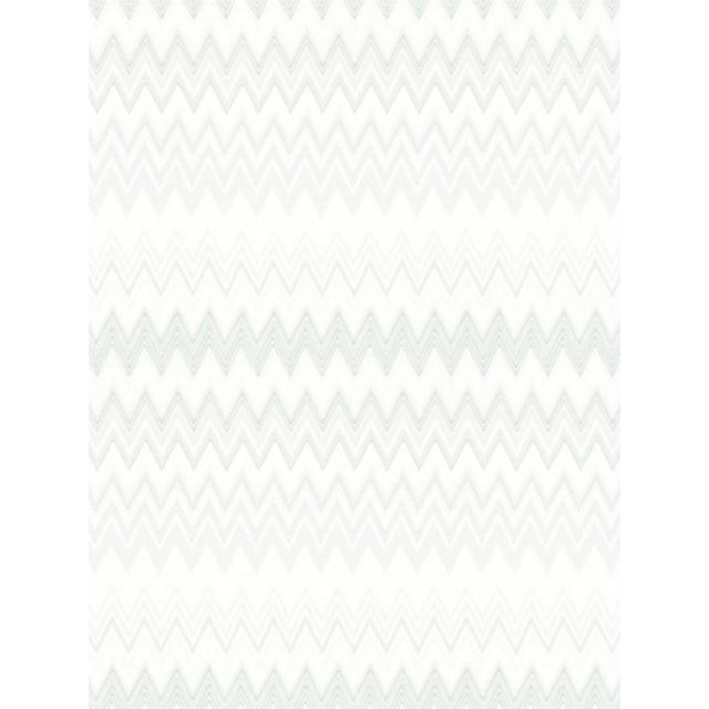 Contemporary Scalamandre Zig Zags, Silver Wallpaper For Sale - Image 3 of 3