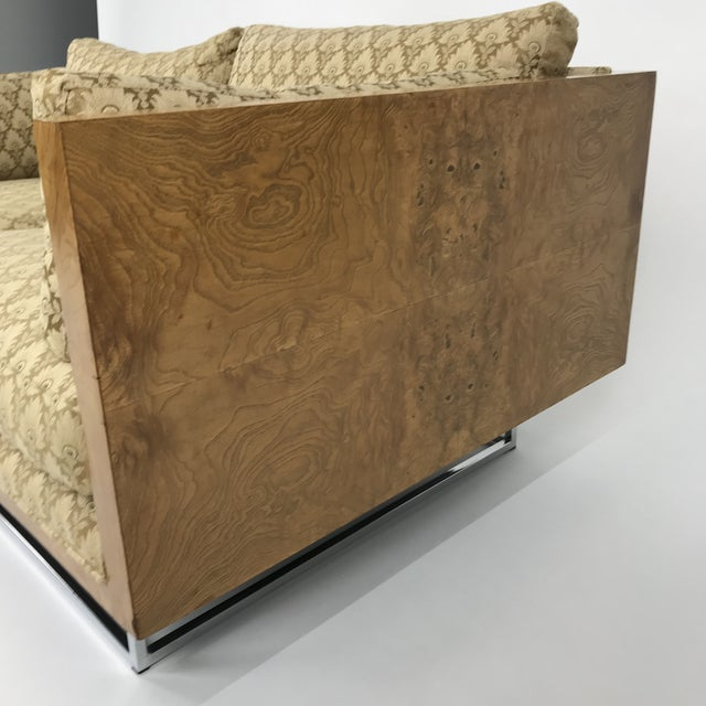 2 Seater Olive Burl Sofa With Chrome Base Designed by Milo Baughman for Thayer Coggin For Sale - Image 9 of 13