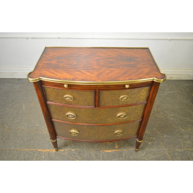 Theodore Alexander Regency Style Eglomise Flame Mahogany Bow Front Veneto Chest For Sale - Image 10 of 13