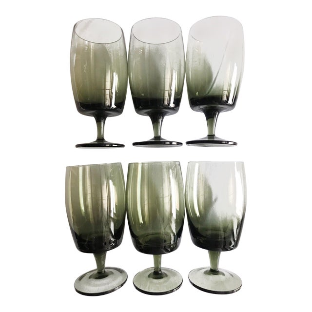 1970s Olive Green Water Goblets - Set of 6 For Sale