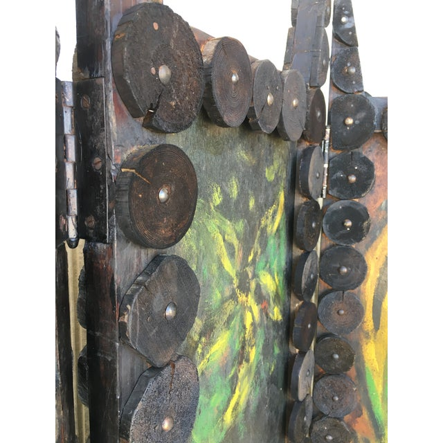 Green 20th Century Arts & Crafts Folding Screen & Hand Painted Decoration Room Divider For Sale - Image 8 of 13