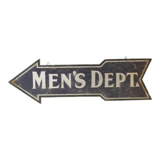 "Early 20th C. Vintage Double-Sided ""Men's Department"" Sign For Sale"