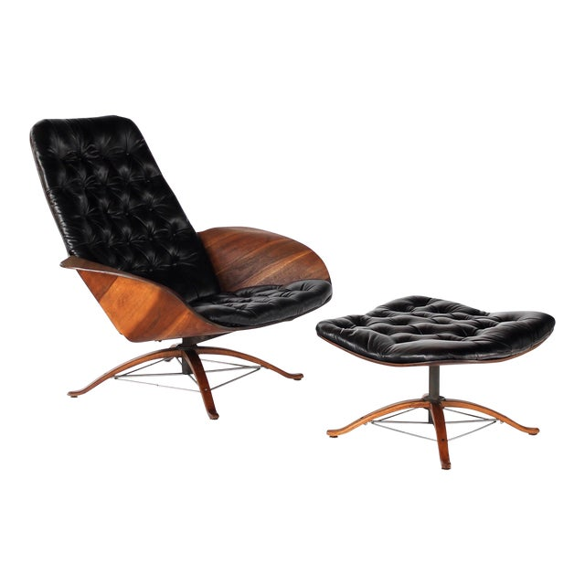 1960s Vintage 1st Edition Mr Chair by George Mulhauser for Plycraft Leather Lounge Chair For Sale
