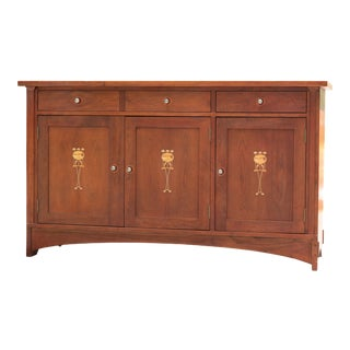 Stickley Harvey Ellis 3 Cabinet Buffet With Light Up Display China Cabinet For Sale