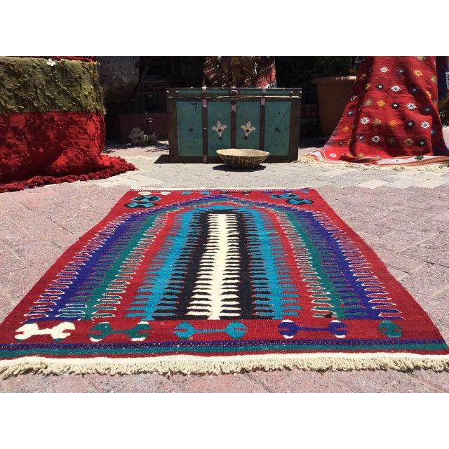 Boho Chic Small Vintage Turkish Kilim Rug For Sale - Image 3 of 10