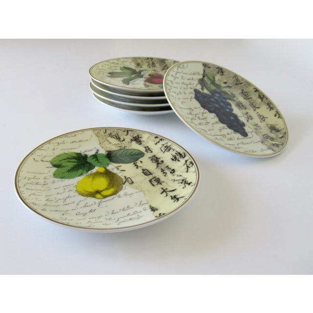 C.1995-2002, Vintage: Set of 6, rare porcelain, Bernaradaud, Limoges canapé dishes, emblazoned in overall design of, Asian...
