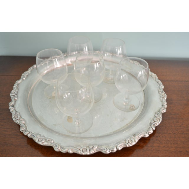 Vintage Val St-Lambert Cordial Glasses & Drinks Tray, 7 Pieces For Sale - Image 10 of 10