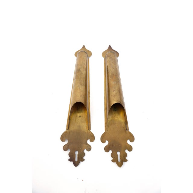 Vintage Brass Wall Planters | Pair of Wall Mount Vases | Moroccan Stemmed Flower Sconces|| Boho Chic/Hollywood Regency Wall Decor For Sale - Image 4 of 13