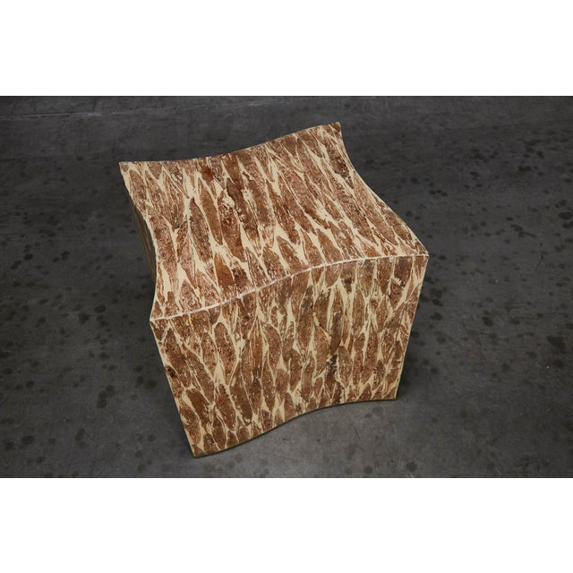 """Cotton 1990s Contemporary Freeform """"Wave"""" Side Table With Natural Fiber Inlay For Sale - Image 7 of 11"""