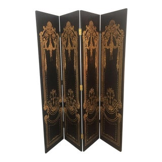Late 20th Century 4 Panel Art Nouveau Hollywood Regency Glamour Room Divider For Sale