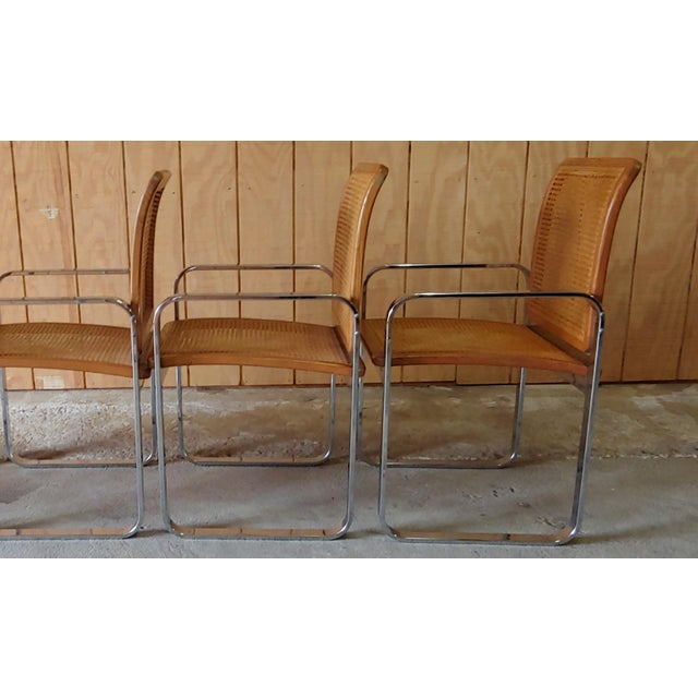 Vintage Modern Berkey Flat Chrome and Cane Dining Chairs - Set of 4 For Sale - Image 9 of 13