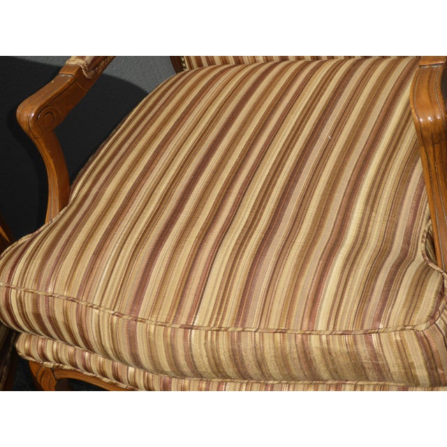 Brown Vintage French Country Brown Stripped Accent Chairs With Down Cushions - a Pair For Sale - Image 8 of 12