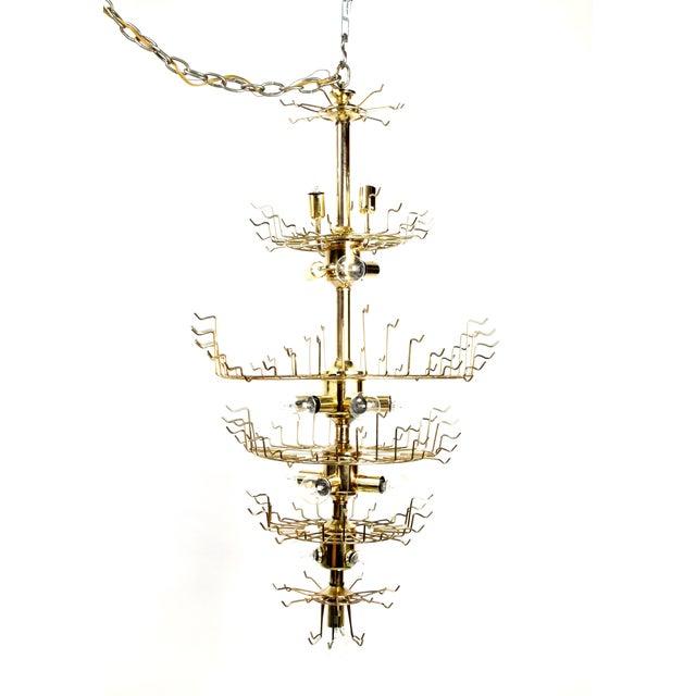 7-Tier Brass & Lucite Chandelier - Image 8 of 11