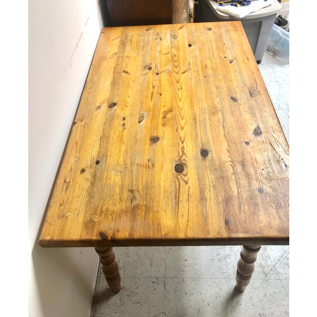 Tan Vintage Farmhouse Small Pine Table /Island For Sale - Image 8 of 10