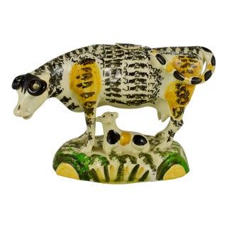 English Pottery Pratt Ware Cow Creamer & Calf, Left Facing Figure For Sale