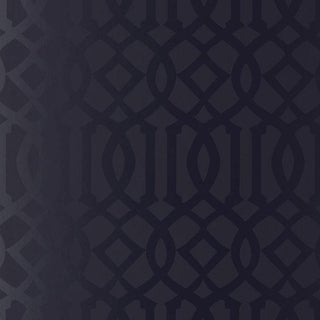 Sample - Schumacher Imperial Trellis Wallpaper in Onyx Gloss Black For Sale