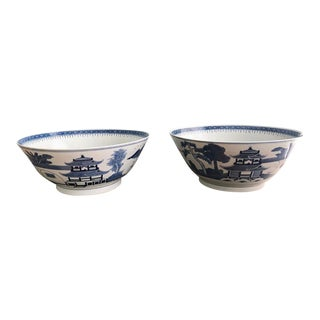 Large Vintage Chinoiserie Blue and White Bowls a Pair For Sale
