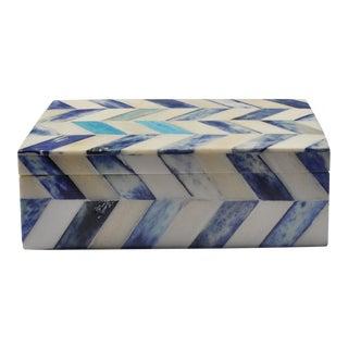 Blue & Ivory Susanna Chevron Bone Box