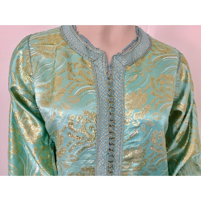 Moroccan Kaftan in Turquoise and Gold Floral Brocade Metallic Lame For Sale - Image 9 of 12