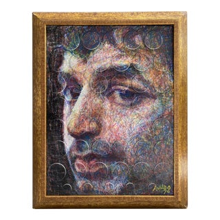 Contemporary Pastel & Colored Pencil Portrait, Framed For Sale