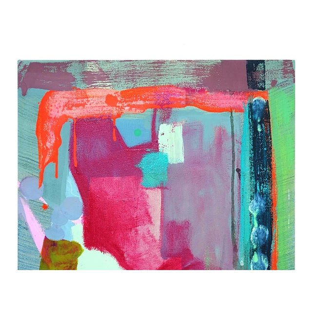 This beautiful pink and multi colored small abstract painting is by Molly Herman. She currently lives and works in...