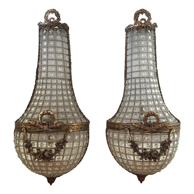 French basket style crystal wall sconces a pair chairish french basket style crystal wall sconces a pair aloadofball Images