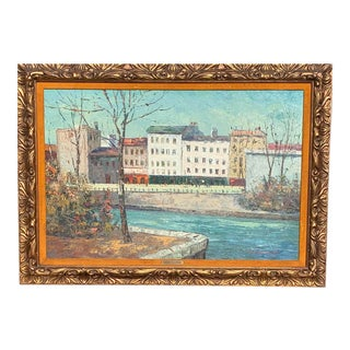 Vintage Lambertville Nj Canal Oil Painting Signed N Caramel For Sale