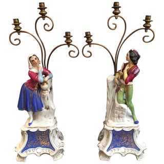 19th Century French Old Paris Porcelain Figural Candelabra - a Pair For Sale