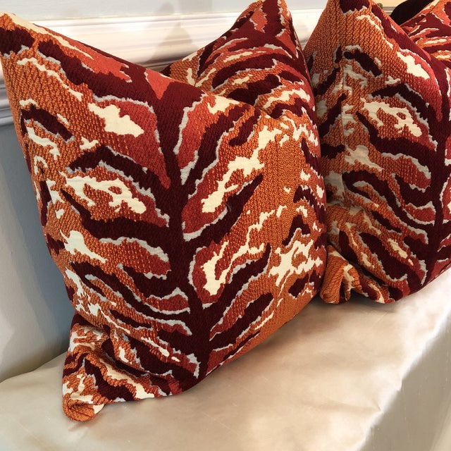 Woven Tiger Print Pillows - A Pair For Sale - Image 5 of 6