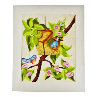 Vintage Handmade Birdhouse and Bluebirds Embroidery For Sale