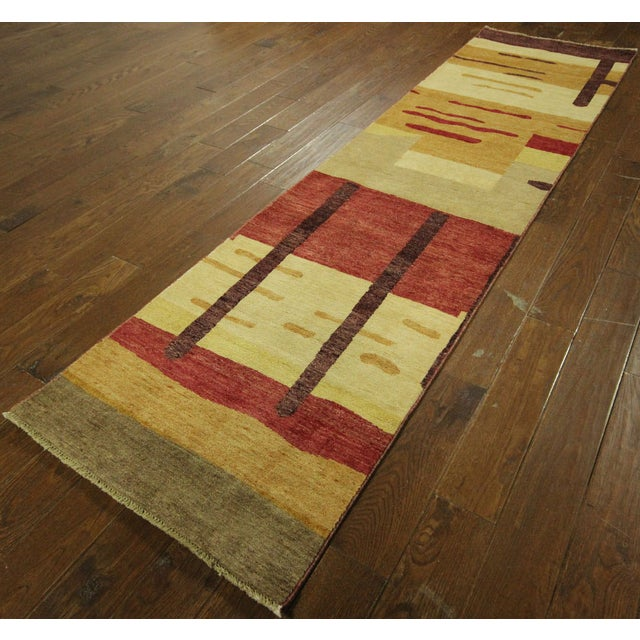 "Abstract Modern Runner Gabbeh Rug - 2'6"" x 10'1"" - Image 2 of 9"
