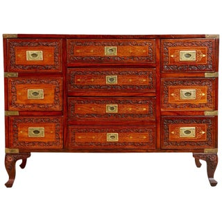 Carved Walnut and Brass Inlay Campaign Chest Dresser For Sale