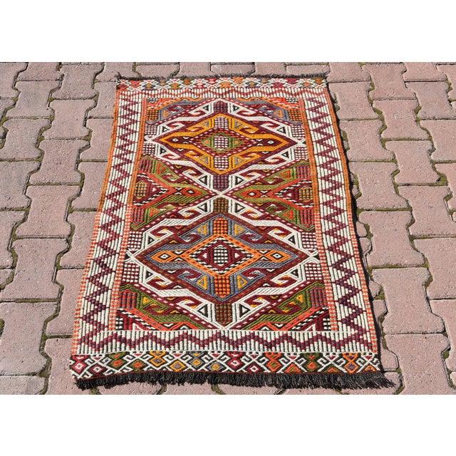 Anatolian Tribal Embroidered Kilim Area Rug -2′6″ × 3′10″ - Image 2 of 6