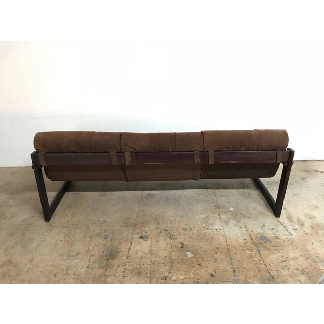 1960s Perceval Lafer Brazilian Rosewood and Suede Sofa For Sale - Image 5 of 7