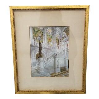 Print - Vintage Architectural Print in Gold Frame For Sale