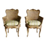 Image of Early 20th Century Antique French Carved Cane Chairs- A Pair For Sale
