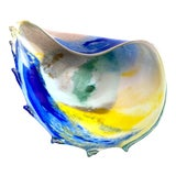 Image of Vintage 1980's Post Modern Hand Blown Studio Art Glass Multicolor Abstract Sculptural Shell Large Centerpiece Bowl For Sale