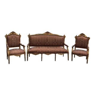 1930s Vintage Imperial Gilded French Sofa and Chairs** - Set of 3 For Sale