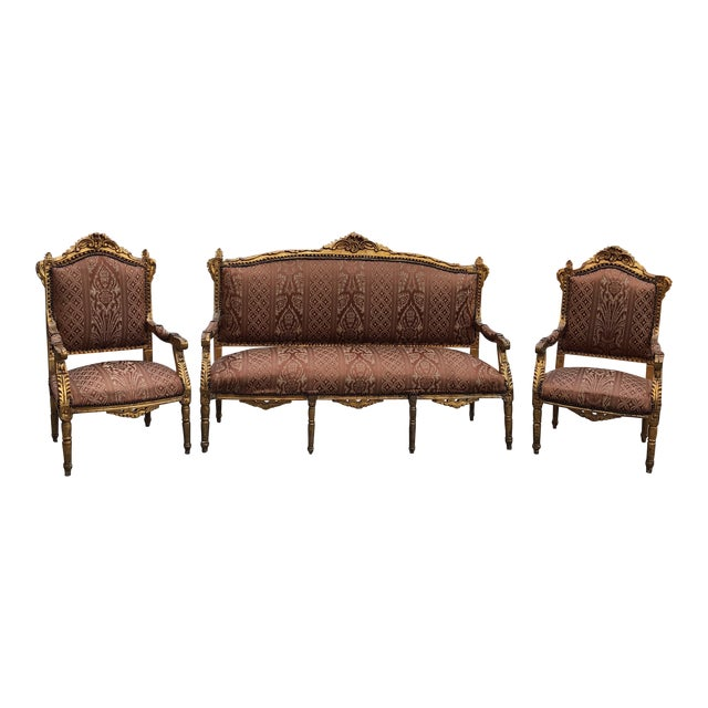 1930s Vintage Imperial Gilded French Sofa and Chairs - Set of 3 For Sale