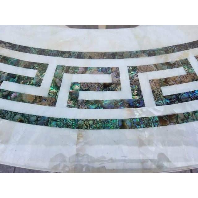 Vintage Regency Tessellated Marble Abalone Round Dining Table - Image 3 of 5