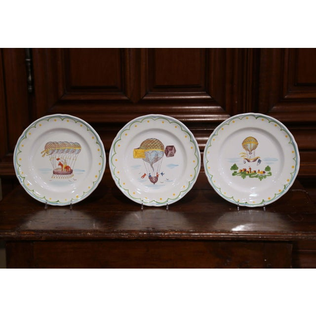 French Set of Six French Hand-Painted Ceramic Hot Air Balloon Plates From Brittany For Sale - Image 3 of 13