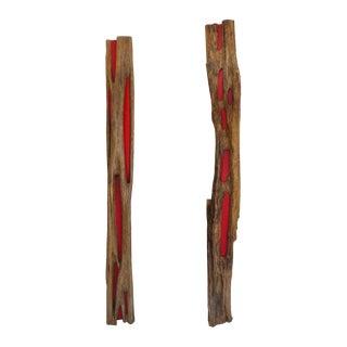 Pair of Reclaimed Wood Log Sculptures by Valeria Totti