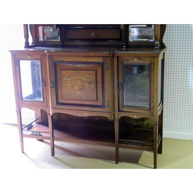 Edwardian Style Inlaid Sideboard With Superstructure For Sale - Image 4 of 12