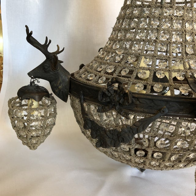 Bronze 10 Light Deer Head Chandelier For Sale - Image 9 of 11