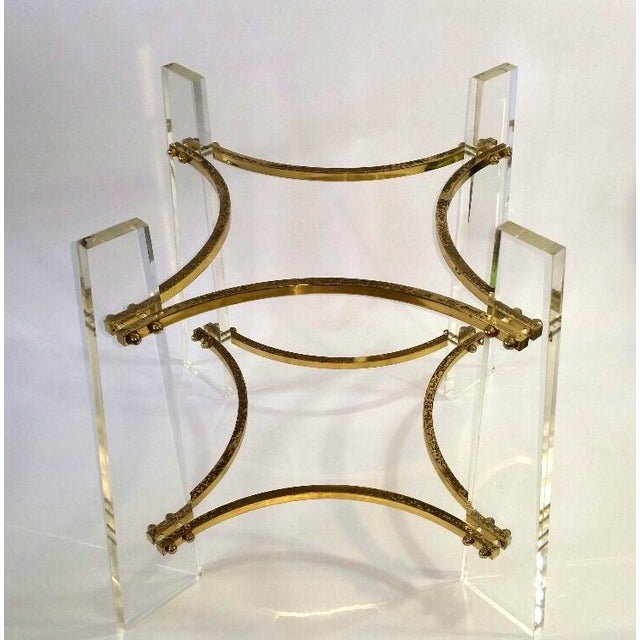 Vintage 1970's Lucite, Brass & Glass Coffee Table For Sale - Image 9 of 11