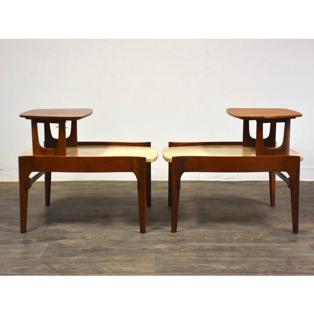 Italian Bertha Schaefer Walnut and Travertine End Tables - a Pair For Sale - Image 3 of 11